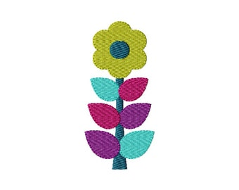 Retro Flower (10) - Filled Embroidery Design - Instant Digital Download Embroidery File