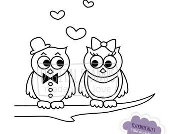 Digital Stamp - Owls in love