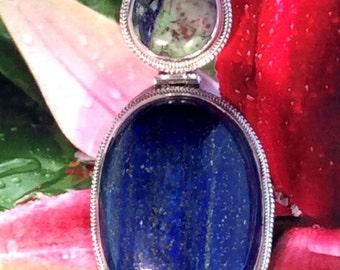Huge Blue Pendant. Sterling Silver, Hinged, Lapis Lazuli, Chrysocolla, Free Ship 119.00