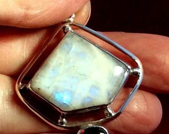 Rainbow Moonstone & Garnet Pendant. Sterling Silver free US ship 52.00