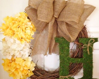 Moss initial Grapevine Wreath with Burlap Bow and Custom hydrangeas
