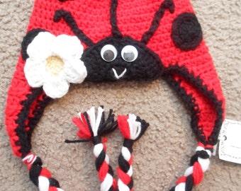 LadyBug hat:  Sizes Newborn, 0-3 mths, 3-6 mths, 6-9 mths, 9-12 mths.