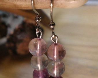Rainbow Fluorite Stone Earrings