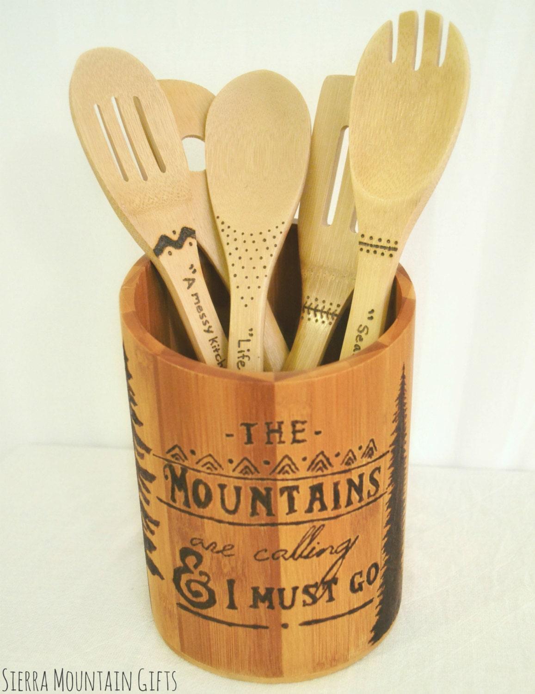 Engraved kitchen utensil holder bamboo wood woodburned - Unique kitchen utensil holder ...