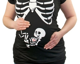 X-ray Rib Cage Baby Boy funny Maternity T-Shirt Clothes Top - chest print - Made From Bamboo - SUPER Soft & Stretchy