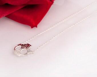 Silver Skull Necklace // Dia De Los Muertos // Gift For Her // Zilveren Schedel Ketting