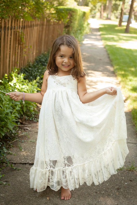 Custom order for kristen girls maxi dress lace flower girl for Country wedding flower girl dresses
