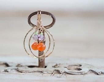 Orange Chalcedony and 14k Gold Filled Chandelier Earrings - Hammered Hoop Earrings by Prairieoats