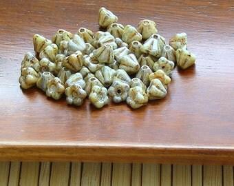 Czech glass flower beads - baby bell flower beads opaque luster green pack of 20