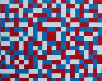 Modern Wall Art ORIGINAL Painting Red White and Blue Modern Squares Art For Kids Room Color Block Painting 18x24 Acrylic On Canvas Artwork