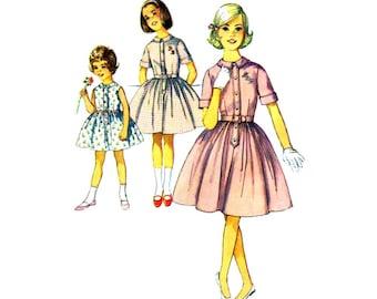 1960s Girls Shirtwaist Dress Simplicity 4829 Vintage Sewing Pattern Childrens Full Gathered Skirt Dress Size 6