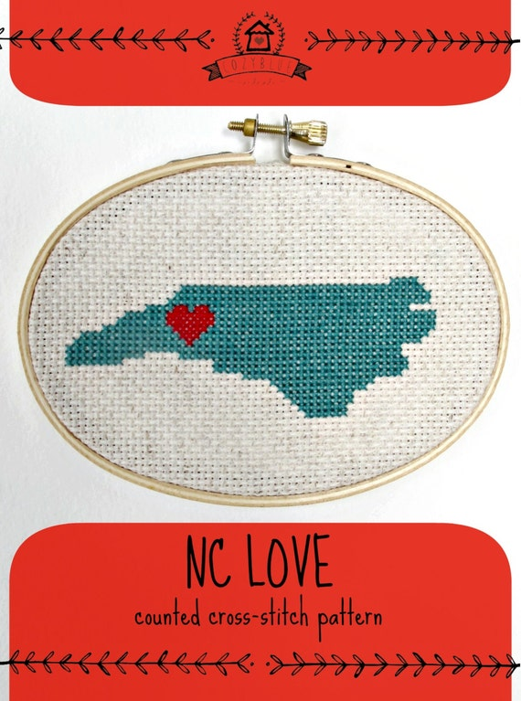 NC love cross-stitch pattern, state pride, north carolina, asheville, tarheel state, x-stitch pattern, north carolina design, pdf, cozyblue