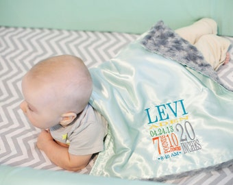 Little Fluffy Blanket - minky satin birth stats personalized embroidery newborn gift photo prop baby blanket lovie lovey monogram