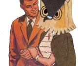 Mixed Media Original Collage Art on Paper Kitsch Owl Love Weird Couple Artwork Funny Owl Illustration Odd Image