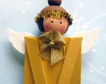 Wood Popsicle Stick Angel. Christmas Holiday Folk Art Decoration. Primitive Gold Painted Ornament. Brunette Tree Hanger. Prim Xmas Ornie