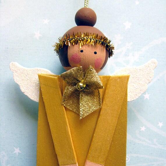 Wood Popsicle Stick Angel. Christmas Holiday Folk Art Decoration. Primitive Gold Painted Ornament. Brunette Tree Hanger. Prim Xmas Ornie