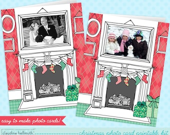 christmas photo card printable kit - customize this card with your own photos - INSTANT download PDF