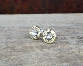 223 Winchester Remington bullet earrings | Swarovski crystals | sterling silver studs | jewelry for her | bullet studs