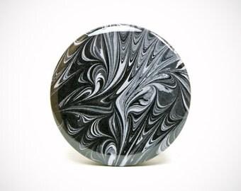 Marbled Magnet 6 Classy Black & White Marbled Paper 2.25 inch Round Magnet - Office, Kitchen, Locker - Gifts Under 5 Dollars
