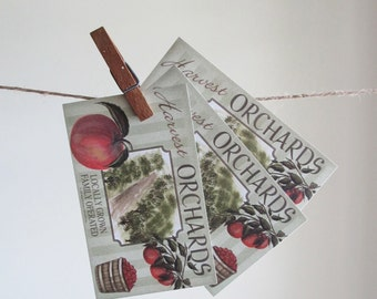 3 Large Harvest Orchards Apple Label Stickers