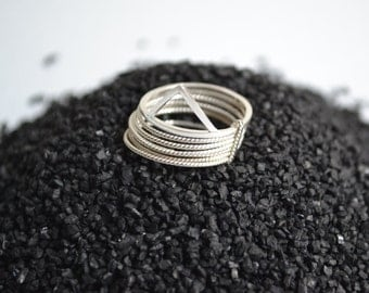 Rivers and Mountains  - silver multiple ring, stacking rings, semainier