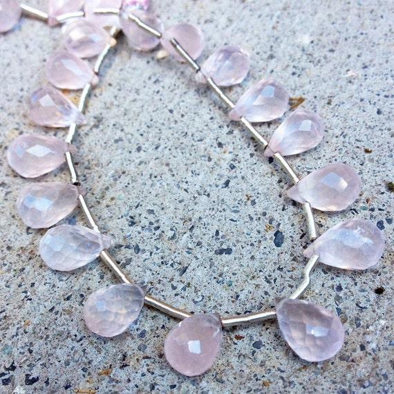Rose Quartz Beads, Natural Pink Gemstone Briolettes, 8 Inch Strand of Teardrops, 19 Large Stones, 11mm x 8mm (B-Rq5)