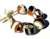 Handmade Lampwork Glass Round Beads Ivory Black Amber set of 6