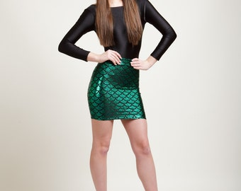 Ariel Green Mermaid Bodycon Mini-Skirt, Metallic Holographic and Super Sparkly