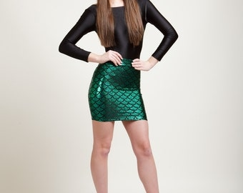 Mermaid Bodycon Mini-Skirt in 8 Metallic Holographic Sparkly Colors