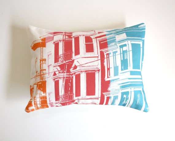 San Francisco Pillow Urban Throw Pillow Rainbow Pillow