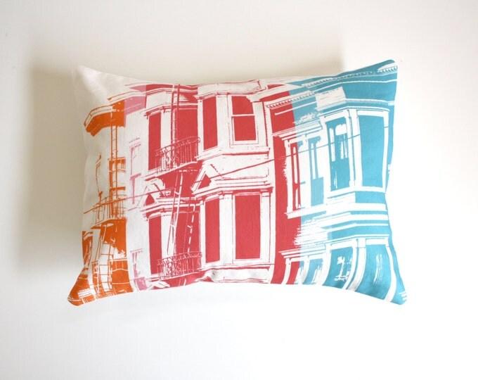SALE - San Francisco Pillow - Urban Throw Pillow - Rainbow Pillow - San Francisco Rainbow Decorative Throw Pillow