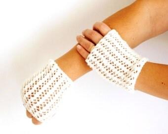 Knit Handwarmers- Fingerless Mittens - Winter Accessories - Ivory mitten, gloves