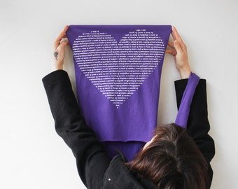 Fall Gift for her : Purple Animal Group Nouns Scarf, christmas stocking stuffer gift for women, Heart Text womens scarf animal lover scarves