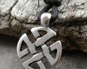 Mens Celtic Knot Necklace, Leather Necklace, Celtic Knot Pendant, Pewter, Metal, Brown Leather Cord, Surfer Necklace, Masculine