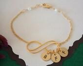 Mother Infinity Bracelet Personalized, Initial Charms, Jewelry, Gold, Infinity Charm, BFF, Grandma Bracelet, Infinite Friendship, Monogram