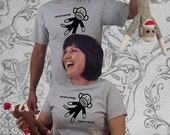 sock monkey shirt . no more monkeys jumpin' on the bed . black and heather . womens fitted tshirt