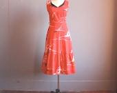 vintage 1950s dress / red tea dress / l/xl