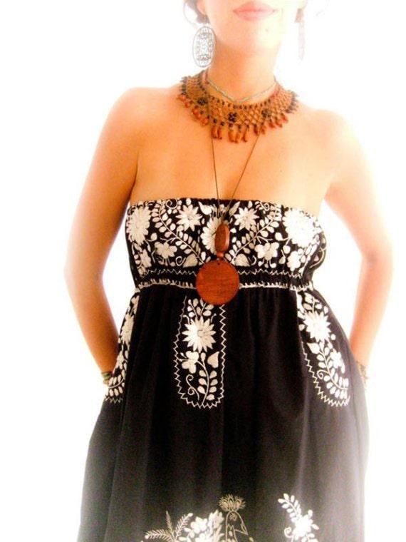 Vestido mexicano bordado sin tirantes vestido Maxi étnico bohemio por Aida Coronado