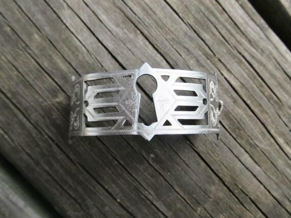 Keyhole Bracelet Silver Cuff Bracelet Assemblage Jewelry Silver Bracelet Rustic Jewelry DanielleRoseBean Escutcheon Cuff Bracelet