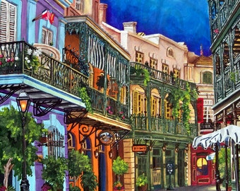 Royal Street, Disneyland Resort, New Orleans Square, Custom Painting on Canvas Art, SIZES - 8x10, 11x14, 16x20, 18x24, 24x36