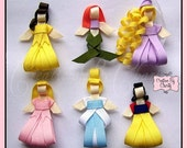 Disney Princess Hair Bow Clips Ribbon Sculpture Girl Accessory - You choose any FIVE