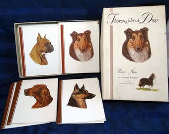SALE Vintage Dog Art Stationery/ Collie, German Shepherd, Boxer Note Cards