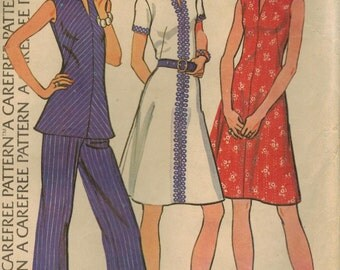 1970s McCall's 3604 Vintage Sewing Pattern Misses A-line Dress, Tunic Top, Pants Size 16 Bust 38