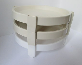 Vintage Tupperware Three Pie Stackers Divide a Rack Serving Beige White
