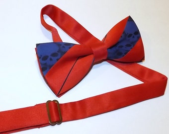 Men collar band skull bow tie red and blue