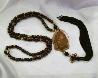 Buddha 108 Prayer Mala Rosewood Meditating Ornamental Golden Carved Dragon  Brown  little Leaf Boxwood Beads