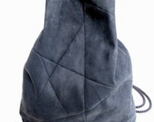 geometric backpack, vegan suede, charcoal