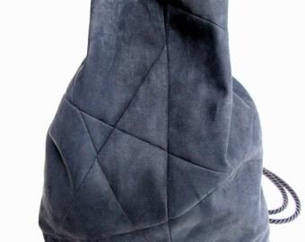 geometric backpack, vegan suede, charcoal