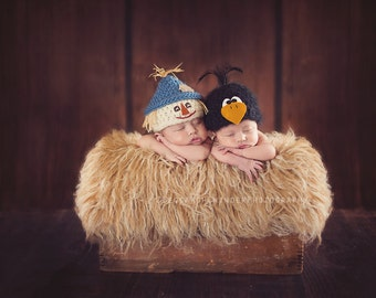 Fall Hat .. Scarecrow Hat .. Newborn Photo Prop ... Newborn Halloween Hat ... Newborn scarecrow Hat ... Fall Hat .. NEWBORN size