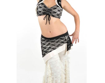 Black Lace and Ivory Carmen Top - bellydance, tribal fusion belly dance